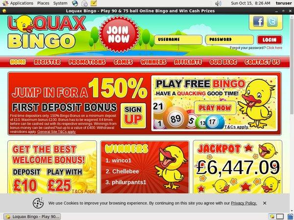 Loquax Bingo Livescore