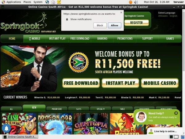 SpringBok Casino Webmoney